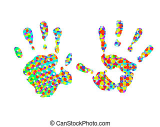 hand-prints, due, colorito