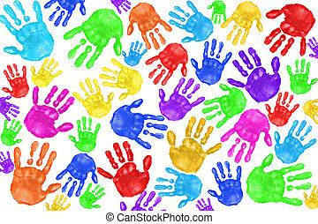 handpainted, bambini, handprints