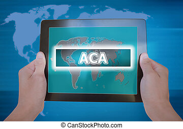 hands-, affari, gobal, o, cura, tavoletta, segno, atto, tenuto, aca, affordable, concetto, schermo, uomo affari