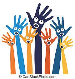hands., gioioso, persone, canto