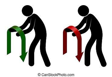 hands., isolato, rosso, crisis., bianco, moribondo, casato, verde, olio, fondo, suo, uomo, prices., prese, freccia, vettore, cadere