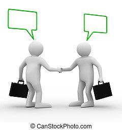 handshake., immagine, due, isolato, businessmen., riunione, 3d