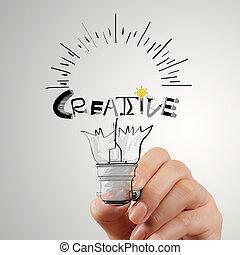 hannd, concetto, parola, luce, creativo, disegno, bulbo, disegno