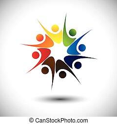 happiness., concetto, &, gioia, personale, condivisione, amici, o, felice