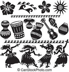 hawaiano, strumenti, musicale, set, ballerini