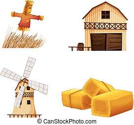hays, spaventapasseri, case, granaio