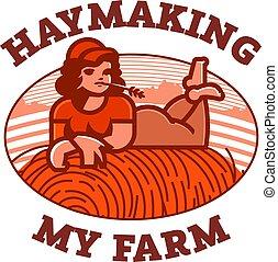 haystack., riposare, ragazza, campo, contadino