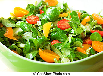 healthy!, ciotola insalata, verde, verdura fresca, servito, mangiare