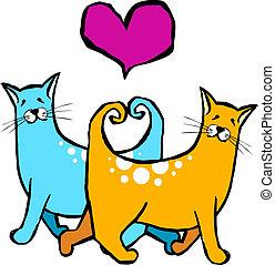 heart., coccolare, formare, loro, gatti, code, motivi, scheda, valantines