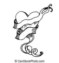 heart., disegno, mano