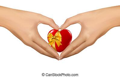 heart., forma, donna, illustrazione, vettore, mani