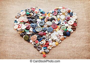 heart., giorno valentine, bottoni