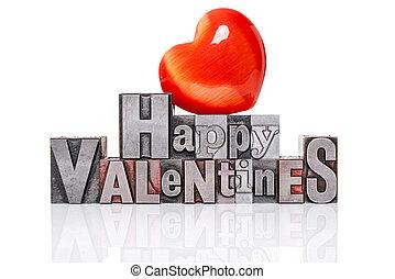heart., letterpress, valentines, vecchio, rosso, felice