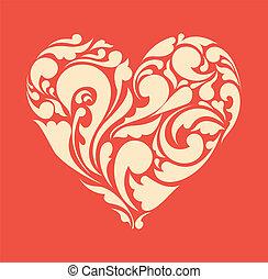 heart., manifesto, astratto, retro, floreale, amore, concept.