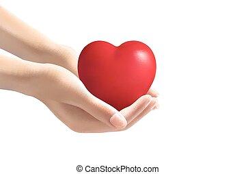 heart., presa a terra, vector., mani