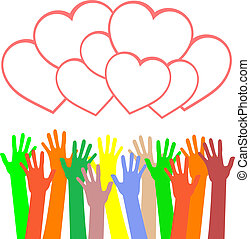 heart., variopinto, saluti, tenere mani, scheda
