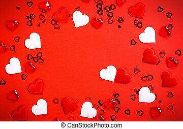 hearts., giorno, rosso, augurio, cornice, testo, decorazione, messaggio, cuori, couples, copia, love., foto, circondato, valentine, dichiarazione, amore, fondo., centro spaziale, o