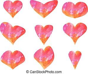 hearts., set, acquarello, vettore, bello