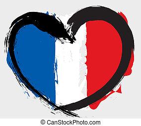 heartshape, bandiera, francia