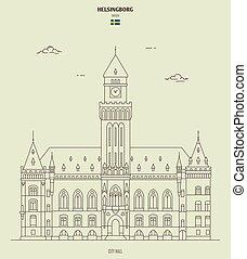 helsingborg, sweden., punto di riferimento, municipio, icona