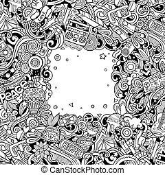 hippie, vettore, mano, scheda, design., illustration., hippy, cornice, doodles, disegnato