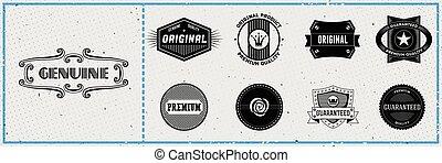 hipster, etichette, set, retro