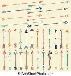 hipster, frecce, collezione