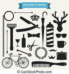 hipster, vettore, set, icona