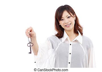 holding donna, chiave, giovane, asiatico