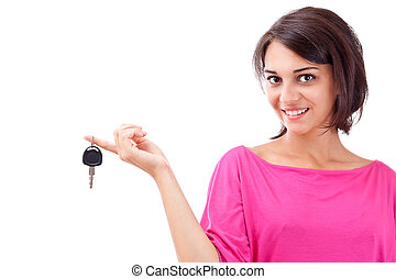 holding donna, chiavi, automobile