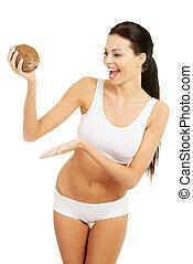 holding donna, cocnut., attraente, bello