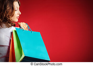 holding donna, contro, borse da spesa, fondo, rosso