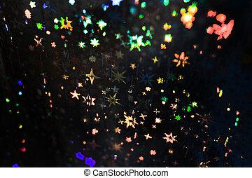 holographic, modello, paper., variopinto, nero, stelle, textured