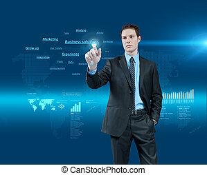 holographic, series., affari, collection., giovane, realtà virtuale, futuro, soluzioni, scegliere, interface., uomo affari, uno