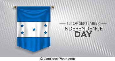 honduras, scheda, vettore, illustrazione, giorno, indipendenza, bandiera, augurio