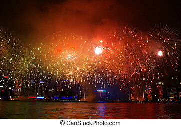 hong, cinese, fireworks, victoria, anno, nuovo, lungo, kong, porto