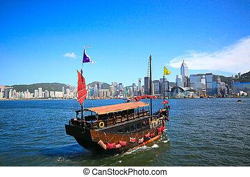 hong, città, vela, asia, kong, barca