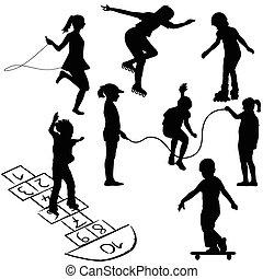 hopscotch, bambini giocando, corda, attivo, saltare, pattini a rotelle, o, kids.
