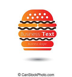 hotels-, cibo, caffè, digiuno, hamburger, vettore, illustrazione, icona