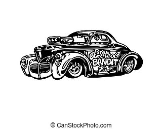 hotrod, clipart, macchina classica, vettore, retro, vendemmia, cartone animato, illustration.