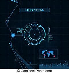 hud, gui, utente, interface., set., futuristico
