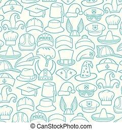 hunter), differente, polizia, icone, gentiluomo, cappelli, infermiera, ufficiale, (cowboy, berretto, basco, baseball, chef, motivi dello sfondo, pirata, safari, mago, medico, tipi