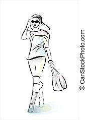 hurring, ragazza, sacchetto spesa