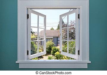 iarda, indietro, finestra, piccolo, shed., aperto