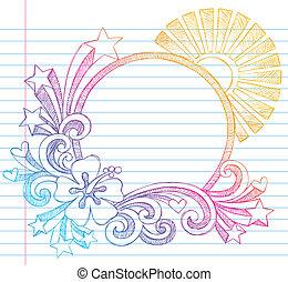 ibisco, estate, cornice, vacanza
