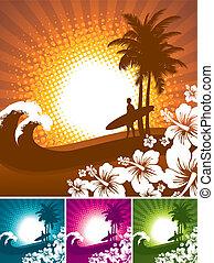ibisco, -, surfer, tropicale, silhouette, vettore, illustartion, spiaggia, paesaggio