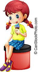 icecream, ragazza, giovane, seduta