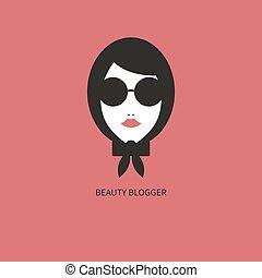 icon., blogger, moda, giovane ragazza, occhiali da sole