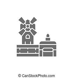icon., cabaret, punto di riferimento, parigi, rossetto, moulin, grigio, francia