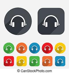 icon., cuffie, button., auricolari, segno